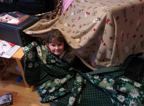 Alpha and Beta made a blanket fort.