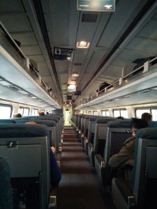 looking up the aisle on the train