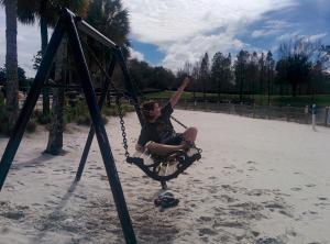 beta posing on swing