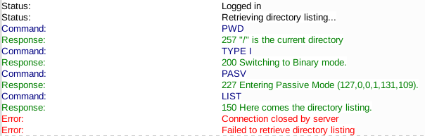 "filezilla connection log with ""failed to retrieve directory listing"" error"