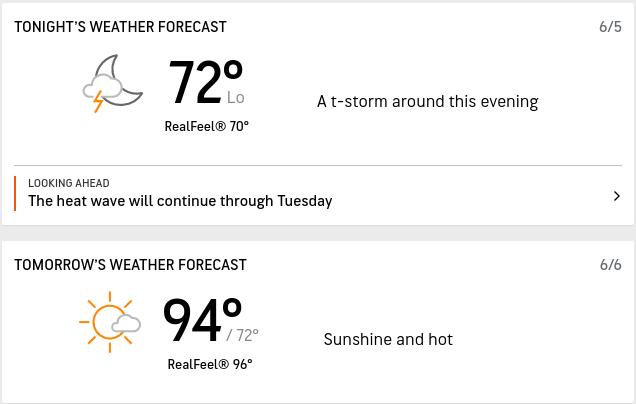 tonight will be 72 F, tomorrow will be 94 F